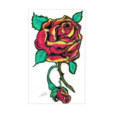 Rose Sticker (Rectangular)