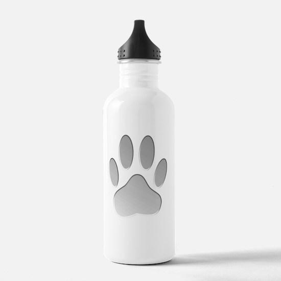Metallic Dog Paw Print Sports Water Bottle