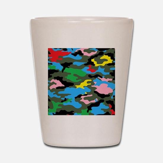 rainbow camouflage Shot Glass