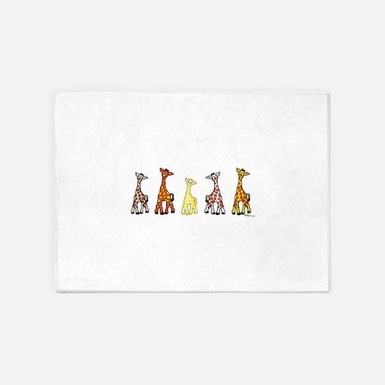 Baby Giraffes In A Row 5'x7'Area Rug