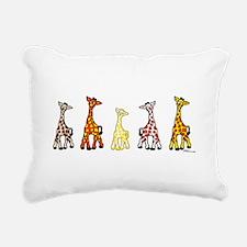 Baby Giraffes In A Row Rectangular Canvas Pillow