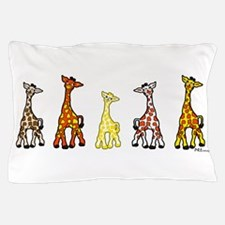 Baby Giraffes In A Row Pillow Case