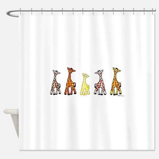 Baby Giraffes In A Row Shower Curtain