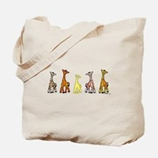 Baby Giraffes In A Row Tote Bag