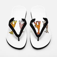 Baby Giraffes In A Row Flip Flops