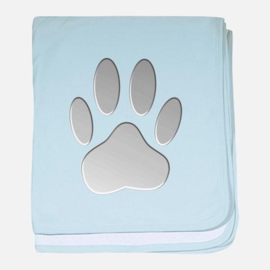 Metallic Dog Paw Print baby blanket
