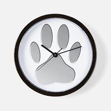Metallic Dog Paw Print Wall Clock