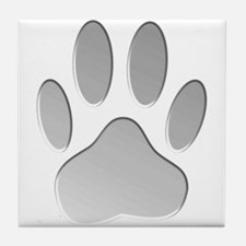 Metallic Dog Paw Print Tile Coaster