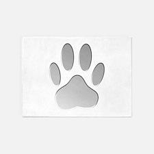 Metallic Dog Paw Print 5'x7'Area Rug