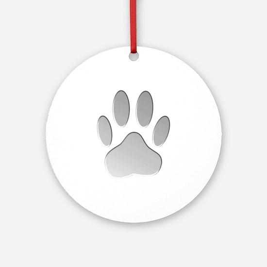 Metallic Dog Paw Print Ornament (Round)