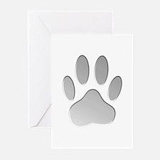 Metallic Dog Paw Print Greeting Cards