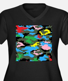 rainbow camouflage Plus Size T-Shirt