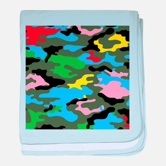 rainbow camouflage baby blanket
