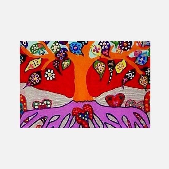 Heart Flowers - Tree of Life - Jennifer Fa Magnets