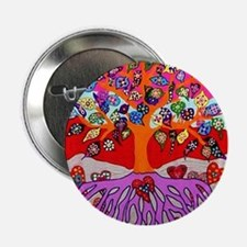 """Heart Flowers - Tree of Lif 2.25"""" Button (10 pack)"""