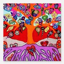 """Heart Flowers - Tree of Square Car Magnet 3"""" x 3"""""""
