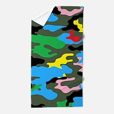 rainbow camouflage Beach Towel