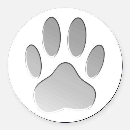 Metallic Dog Paw Print Round Car Magnet