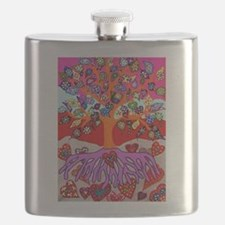 Heart Flowers - Tree of Life - Jennifer Fayt Flask