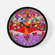 Heart Flowers - Tree of Life - Jennifer Wall Clock