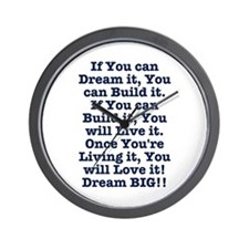 Dream, Build, Live, Love Wall Clock