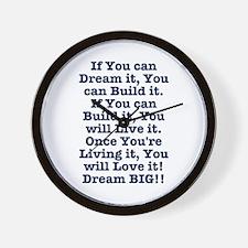 Dream, Build, Live, Love Wall Clock