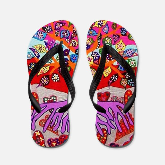 Heart Flowers - Tree of Life - Jennifer Flip Flops