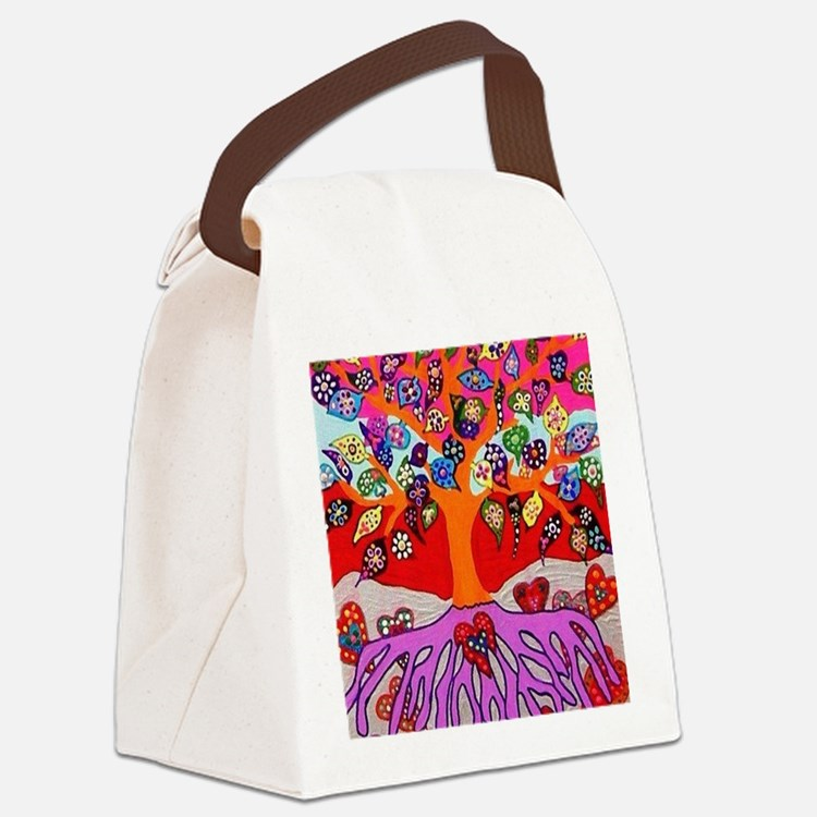 Heart Flowers - Tree of Life - Je Canvas Lunch Bag