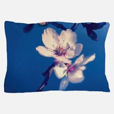 Pink Fruit Blossoms on Blue Pillow Case