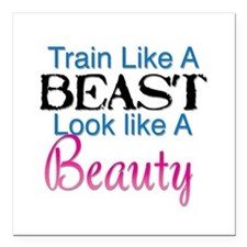 "Train Like A Beast Look Square Car Magnet 3"" x 3"""