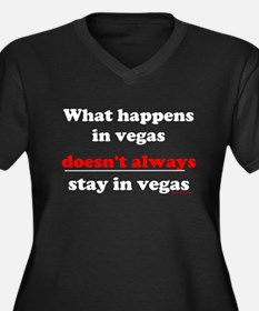 Cute What happens in vegas Women's Plus Size V-Neck Dark T-Shirt