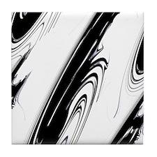 Black and White Flows Tile Coaster