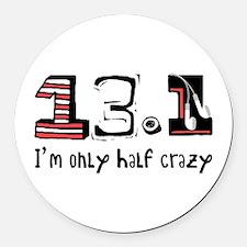 Half Crazy Round Car Magnet