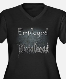 Employed Met Women's Plus Size V-Neck Dark T-Shirt