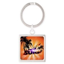 Surfing, surfboarder with palm Keychains
