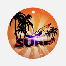 Surfing, surfboarder with palm Ornament (Round)