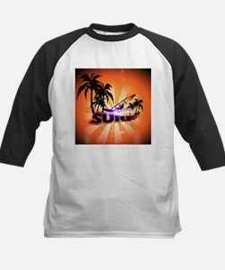 Surfing, surfboarder with palm Baseball Jersey