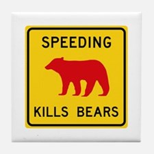 Speeding Kills Bear, California (US) Tile Coaster