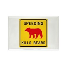 Speeding Kills Bear, California ( Rectangle Magnet