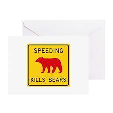 Speeding Kills Bear, Cal Greeting Cards (Pk of 10)