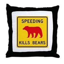 Speeding Kills Bear, California (US) Throw Pillow