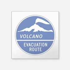 "Volcano Evacuation Route, W Square Sticker 3"" x 3"""