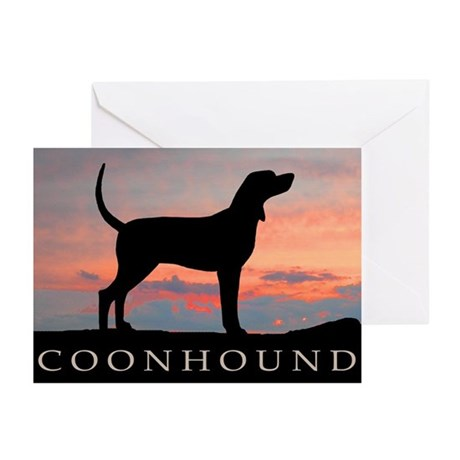 Sunset Coonhound Greeting Cards (Pk of 10)