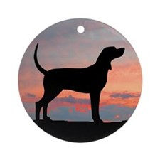 Sunset Coonhound Ornament (Round)