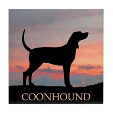 Sunset Coonhound Tile Coaster