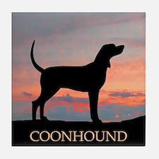 Sunset Coonhound Tile Coaster