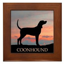 Sunset Coonhound Framed Tile