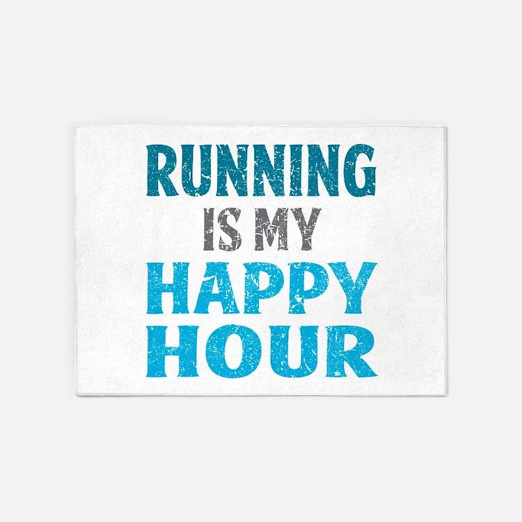 Running Is My Happy Hour 5'x7'Area Rug