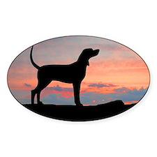Redbone Coonhound Sunset Oval Decal