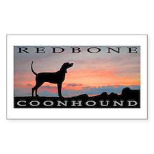 Redbone Coonhound Sunset Rectangle Decal